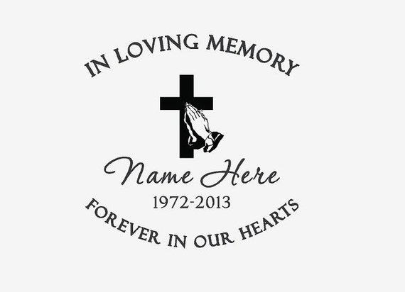 In loving memory custom car window decal cross praying for Memory cross template