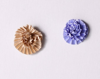 3 pin 50mm, polyester, satin, pleated, beige, mauve (5715)