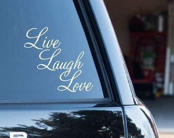 Live Laugh Love Car decal Mirror decal Window decal Car window sticker Laptop decal Car window decal Accent  CE15