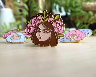 Plant Girl Pin - Brown