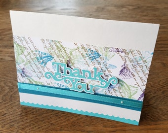 Thank You Card - OOAK - Handmade Ocean Beach & Seashell Theme