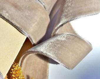 "French Beige Vintage Velvet Ribbon 7/8"" French Velvet Ribbon by the yard 23mm Vintage Velvet Jewelry Ribbon DIY Craft #323  Made in France"