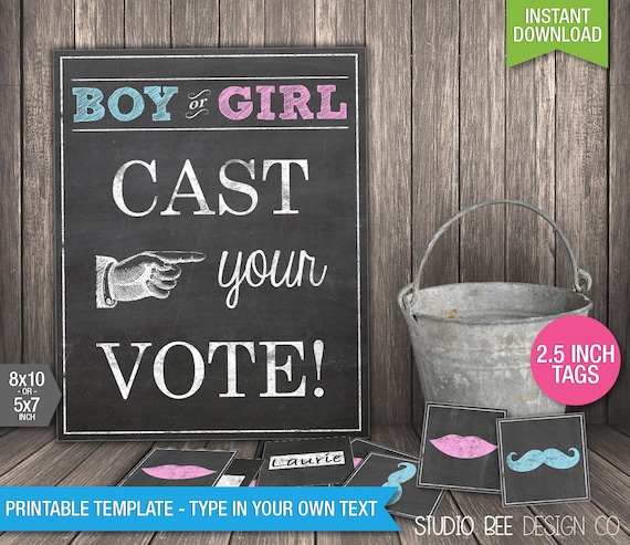 Cast Your Vote Poster & Tags INSTANT DOWNLOAD Printable