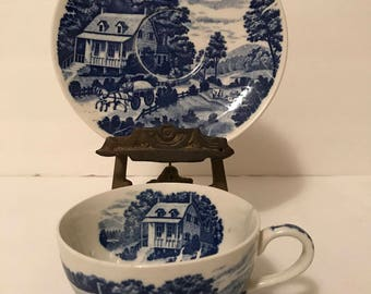 NASCO Homestead Blue & White Cup and Saucer, Hand Painted, Country Chic, Horse Drawn Wagon, Made In Japan, Farm Land, Collectible,
