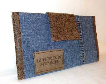 Repurposed Denim Jeans with Western Tooled Faux Leather Trim Wallet