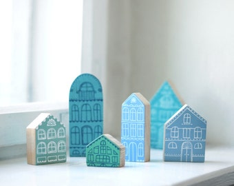 SET of 6 pcs - Hand painted wooden village, miniature village, hand painted house, wooden block, little wooden house, decorative house, toy