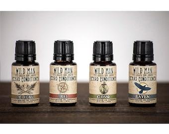 Beard Oil Sampler WILD MAN Beard Conditioner - Four 15ml Bottles Mens Gift