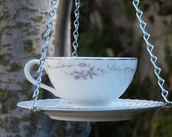 Tea Cup Bird Feeder with Small Roses
