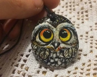 """Hand Painted stone owl pendant/Necklace-""""owl necklace. Painted Stone Owl pendant """""""