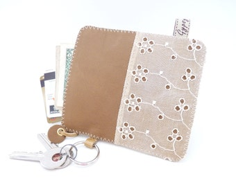 Leather and Vintage Eyelet Pouch / My Favorite Zippy Wallet / Zippered Leather Bag / Ready to Ship