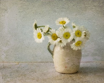 White Daisy Still Life Photography,  Hygge Art, Jug of Daisies,  Flower Photo,  Rustic Wall Decor, Daisy Art, Brown Neutral Art