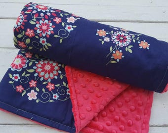 baby blanket-Personalized girls pink dimple dot minky baby blanket in navy flowers-personalized minky baby blanket with applique name