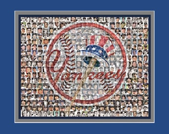 New York Yankees Player Mosaic Art Print, 200 of the greatest Yankee Players from the past 100 years. Includes a FREE Derek Jeter Mosaic.