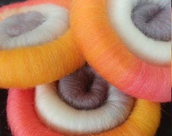 "Hand Dyed Rolags 100% Domestic Wool Hand Blended ""Pretty Chickens"" Colorway 4oz"