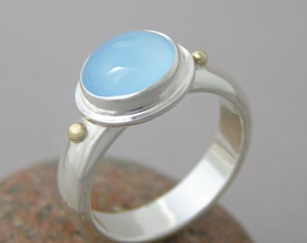 Blue Chalcedony Gemstone Silver and Gold Ring ~ Wide Band