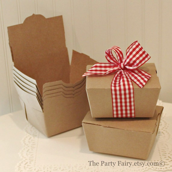 Kraft Boxes 10 Brown Kraft Favor Boxes Carry-out Food Box