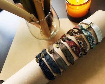 Layered fabric cotton bracelets grayish brown