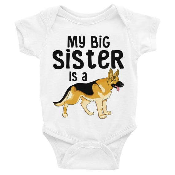 Baby ONESIE ® Cute Baby One Piece, Baby Clothes Girls Boys, Baby Shower Gifts Newborn Clothing Big Sister My Big Sister is a German Shepherd
