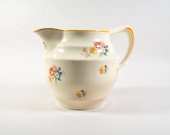Pitcher by Societe Ceramique, Pitcher flower pattern, Societe Ceramique Maestricht Made in Holland