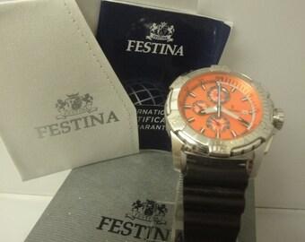 Gents Festina model F16223 chrono watch on orange dial (never been worn)