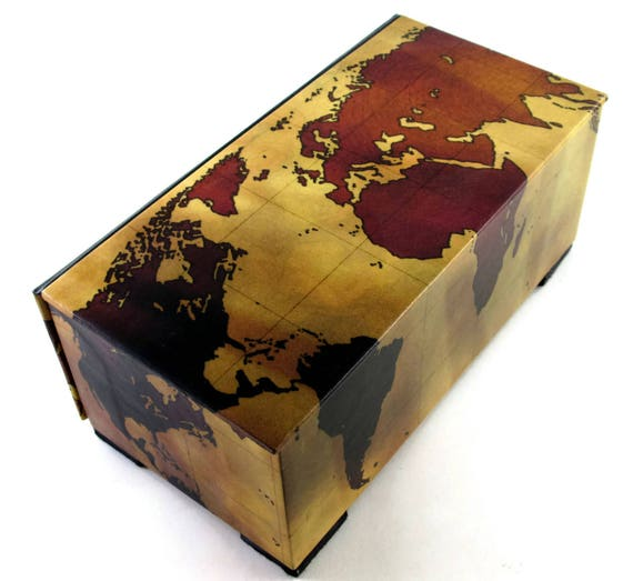 Decorative box vintage world map watch box tea chest like this item gumiabroncs Image collections