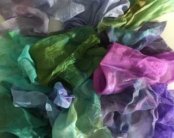 Silk Treasure Bag, fabric scraps, silk scraps, silk fabric scraps, scrap dyed fabric