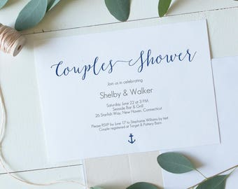Blue Anchor Couples Shower Invite - Printable editable PDF - Nautical Blue Bridal Shower -Instant download Invitation - 5x7 inches - #GD0915