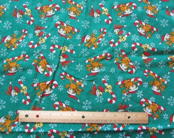 Green Garfield/Odie Christmas Candy Cane Flannel Fabric by the Half Yard