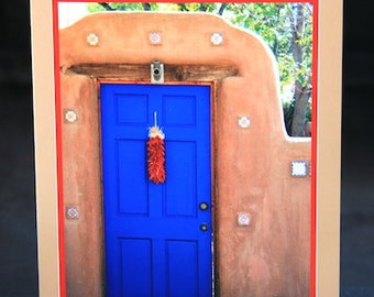 "Photo Greeting Card - Folded 5""x7"" - Santa Fe, New Mexico - blue door with pumpkin and ristra"
