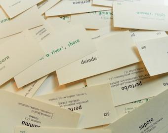 Assortment of 30 Random Vintage Latin Vocabulary Cards