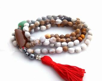 Yoga Mala wellness -108 beads mala - bohemian yoga necklace - tears of Job seed mala - gemstone 108 beads mala - Japa mala - Tibetan mala -