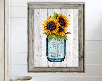 SALE-Sunflowers In Vintage Mason Jar On Barn Wood-Digital Print-Wall Art-Digital Designs-Home Decor-Gallery Wall-Modern Farmhouse Wall Decor & Mason jar wall decor | Etsy
