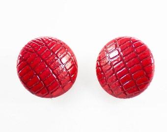 Vintage Large Red Round Crocodile Leather Snake Skin Stud Earrings