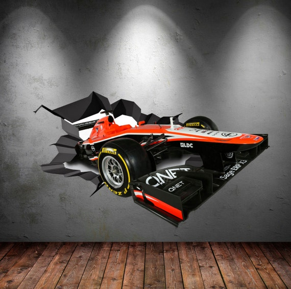Wall Decals Full Colour D F Racing Car Race Car Cracked Wall - Formula 1 wall decals
