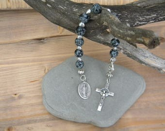 Snowflake obsidian and silver pocket rosary