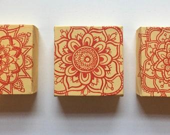 Buttercup yellow set of 3 mandala paintings
