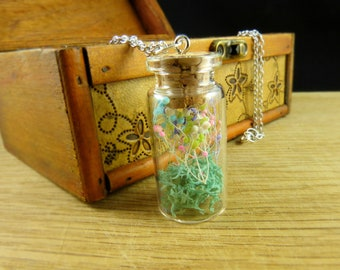 Pastel necklace pendant with flowers and moss terrarium vial orb gift for her