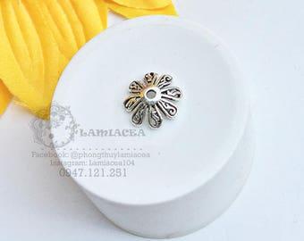 Silver charm s925 thai silver diy torus S925 silver 10mm crafted flower torus bead caps 2422762