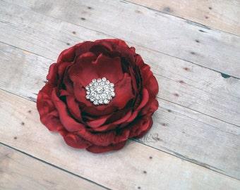 Deep Red Flower Hair Clip Garnet Flower Hair Clip Ranunculus Hair Clip Rhinestone Flower Hair Clip Ruffled Flower Hair Clip Headband
