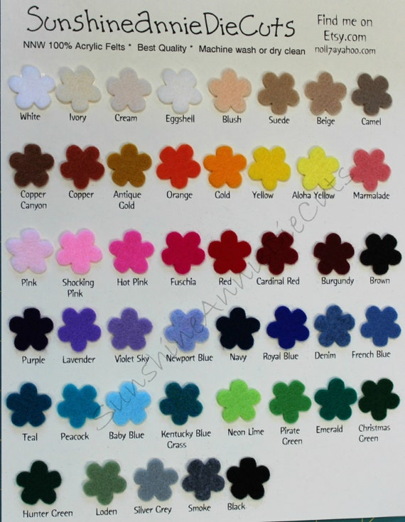 New Color Chart  Craft Felt Color Samples National Non
