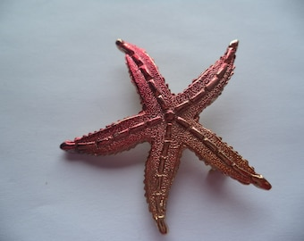 Fabulous Unsigned Vintage Goldtone/Red Starfish Brooch/Pin