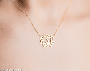 Small monogram necklace etsy personalized necklace gold monogram necklace gift for her personalized jewelry small monogram mozeypictures Choice Image