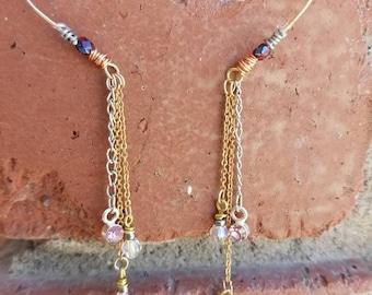 Brass Chain Swarovski Crystal Dangle Earrings