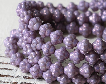 6mm Saturn Beads - Czech Glass Beads - Jewelry Making Supply - Lavender Luster - 50 Beads