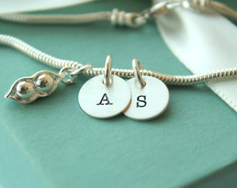 Personalized Sweet Pea Bracelet - Twins Bracelet - Twins Jewelry - Sweet Pea Twins Bracelet - Peas in a Pod - Personalized Bracelet -