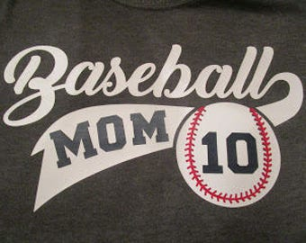 Baseball Mom Vinyl Shirt with kids number