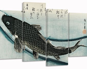 "Katsushika Hokusai ,fish /set of 4 new split canvas prints/ 32""x 20"""