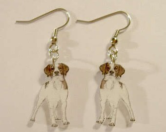 Handcrafted Plastic Britney Spaniel Dog Puppy Dangle Earrings Gifts for Her