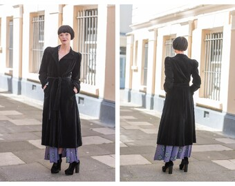 Rare Vintage Mid-70s does 30s Ossie Clark Couture  Black Velvet Wrap Dress Coat Shaped Shoulders Notched Collar XS S