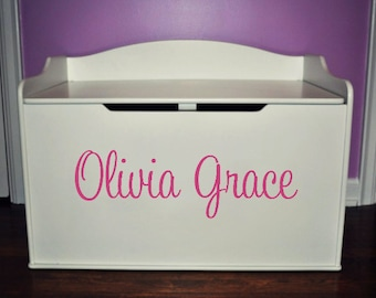 Toy Box Name Decal, Toy Box Name Sticker, Vinyl Decals for Toy Box, Name Decal, Nursery Wall Decals Girls Wall Decal, Choose colors and font